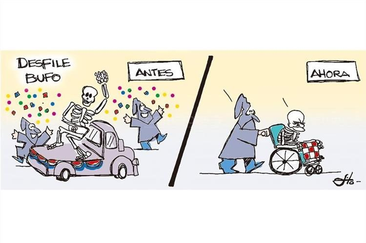Caricatura de Fo referente a los inicios de la Huelga de Dolores comparada con la actual, que se ha hecho vieja, 11/4/2014. (Foto: Hemeroteca PL)
