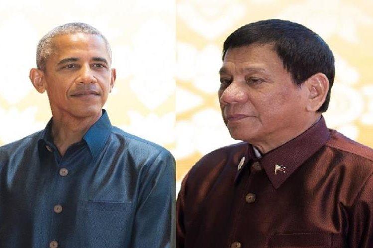 Barack Obama, presidente de Estados Uniods se reunió brevemente con su par filipino, Rodrigo Duterte.(AP).