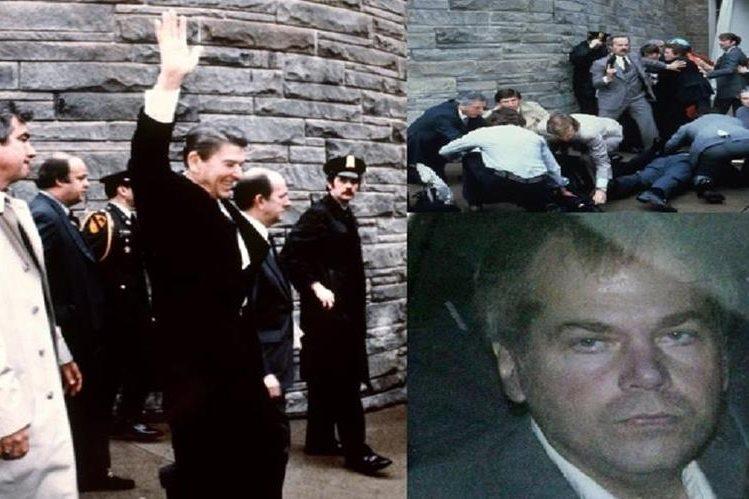 Fotos del fallido intento de asesinato contra Ronald Reagan. Autor del ataque, John Hinckley Jr.(D)