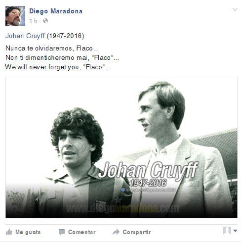 Esta es la fotografía que Maradona colocó en su cuenta de facebook en homenaje a Johan Cruyff. (Foto Prensa Libre: Facebook)