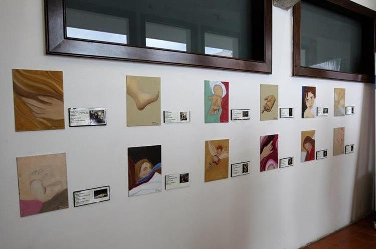 Los alumnos de primaria pintaron fragmentos y detalles de las obras de Murillo. (Foto Prensa Libre: Anna Lucía Ibarra).