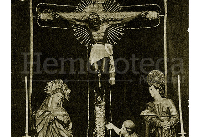 Estampa antigua del misterio completo del Cristo de Esquipulas con la Virgen Dolorosa, San Juan y María Magdalena. (Foto: Hemeroteca PL)