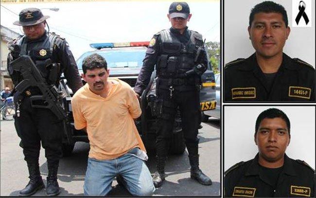 Uno de los condenados por el asesinato y ataque contra los agentes –inserto– de la Policía Nacional Civil. (Foto Prensa Libre: Hemeroteca PL)