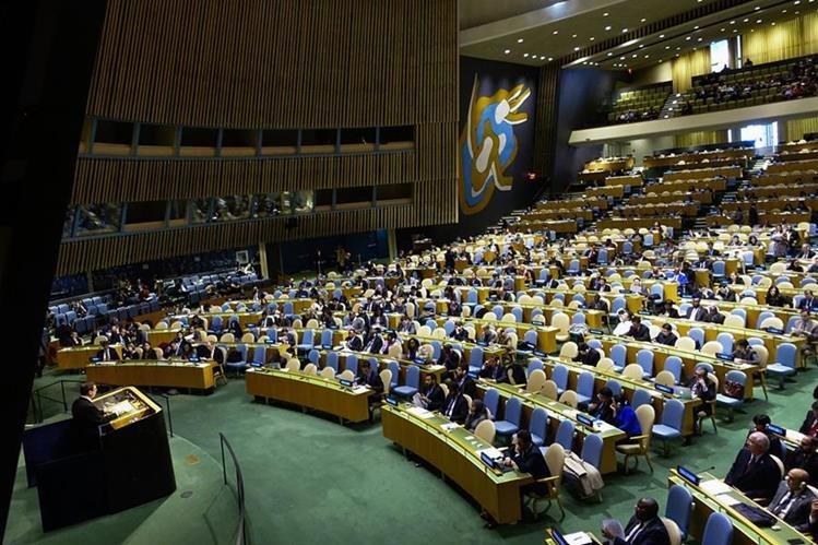 La asamblea de la ONU durante la votación que por 24 años consecutivos ha sido a favor de levantar el embargo a Cuba. (Foto Prensa Libre: EFE).