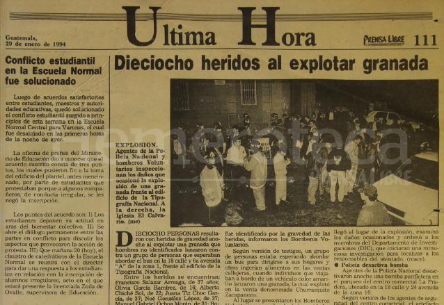 Nota del 20 de enero de 1994 informando sobre un atentado en contra de transeúntes en la 18 calle zona 1. (Foto: Hemeroteca PL)