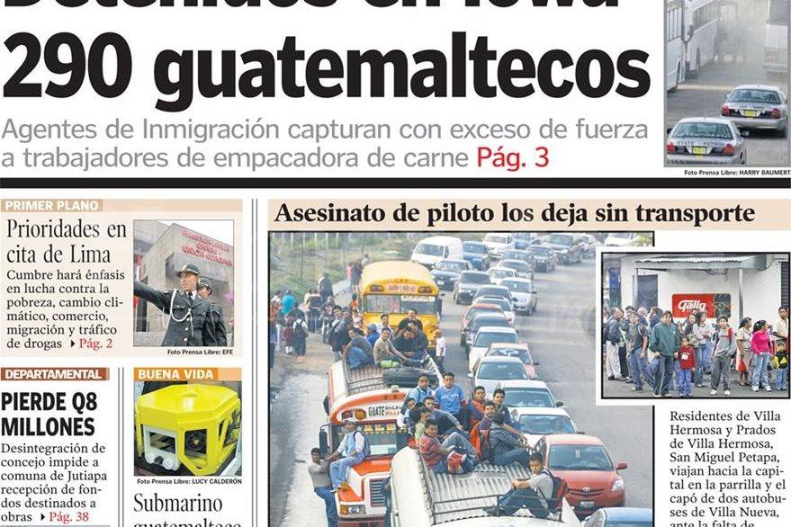 Portada de Prensa Libre del 14 de mayo de 2008, con titular sobre redada de inmigrantes en Iowa. (Foto: Hemeroteca PL)