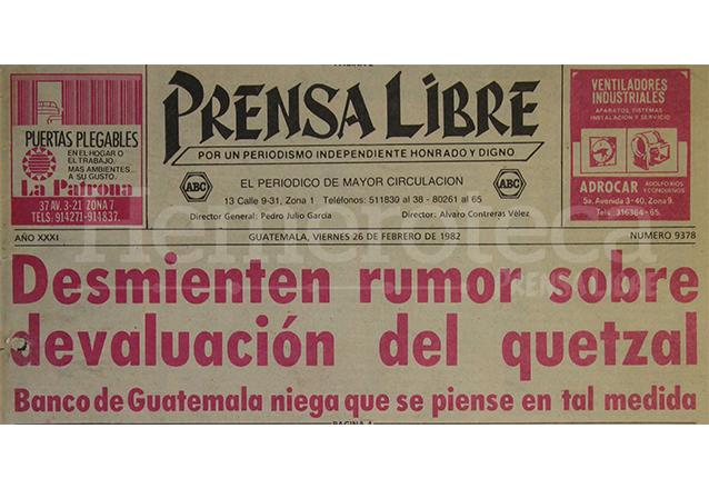Titular de Prensa Libre del 26 de febrero de 1982. (Foto: Hemeroteca PL)