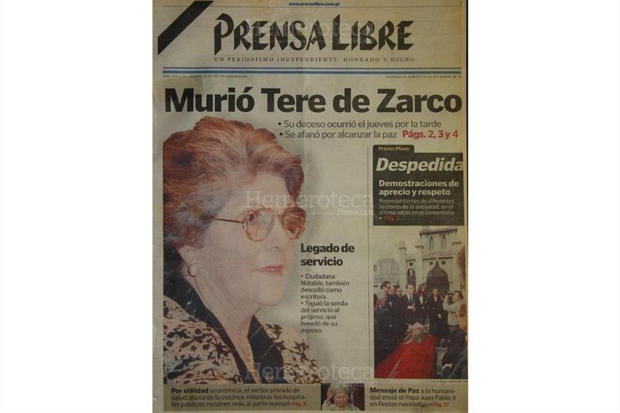 Portada del 26 de diciembre de 1998, con el fallecimiento de Tere de Zarco. (Foto: Hemeroteca PL)