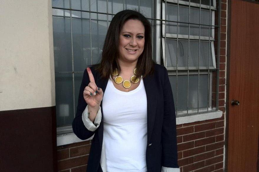Sofía votó en la zona 10.(Foto Prensa Libre: Brenda Martínez)