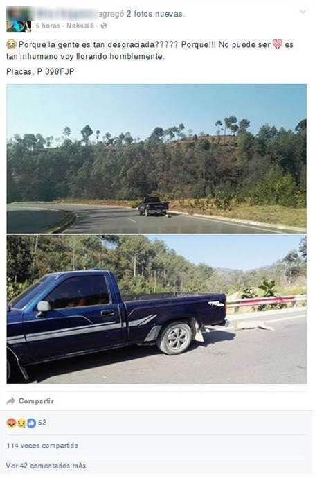 Publicación en la que una usuaria de Facebook denuncia acción tomada por un automovilista. (Foto Prensa Libre: Facebook)