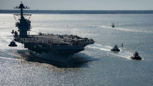 El USS Gerald R Ford está actualmente en fase de pruebas. GETTY IMAGES