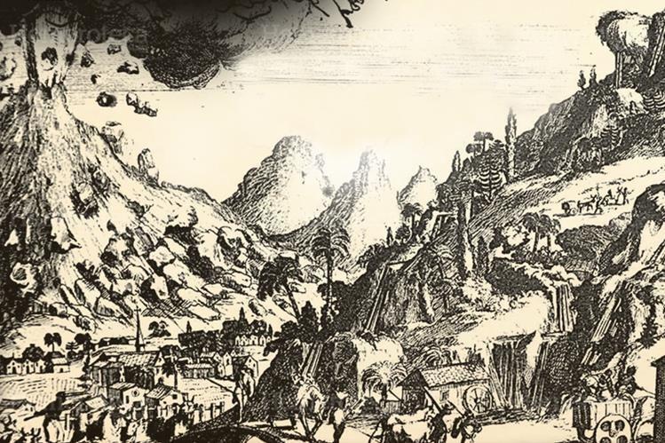 Boceto de una erupción en la ciudad de Santiago de los Caballeros. (Foto: Hemeroteca PL)
