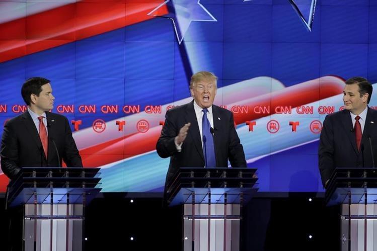 Los candidatos presidenciales Marco Rubio, Donald Trump y Ted Cruz durante el debate. (Foto Prensa Libre: AP).