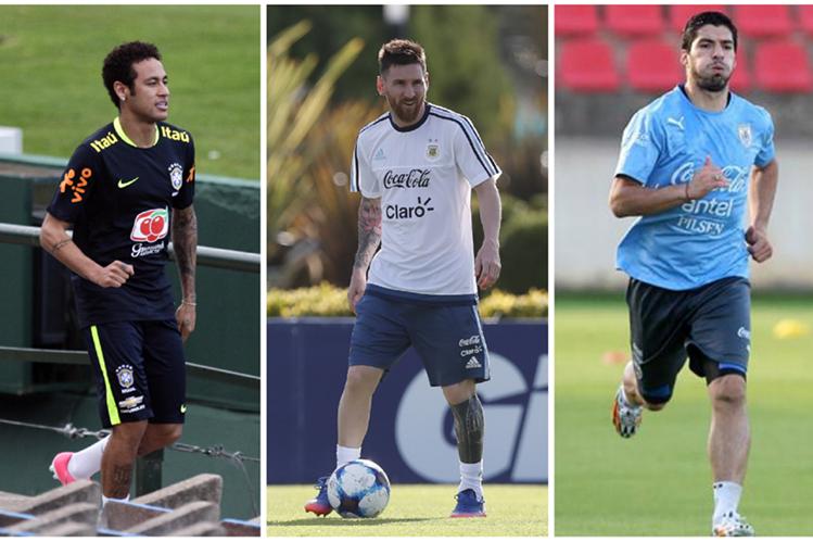 Neymar, Messi y Suárez se conocen a la perfección en el Barcelona. Desde hoy defienden a sus selecciones camino a Rusia 2018. (Foto Prensa Libre)