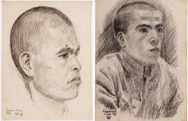 Otro dibujo de Hatam Kadirov y un prisioneros no identificado (posiblemente Zair Muratov). MUSEO FLEHITE