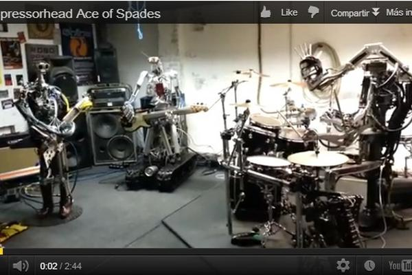 """<p>Compressorhead es una banda de heavy metal integrada por robots. (Foto Prensa Libre: Youtube)<br _mce_bogus=""""1""""></p>"""