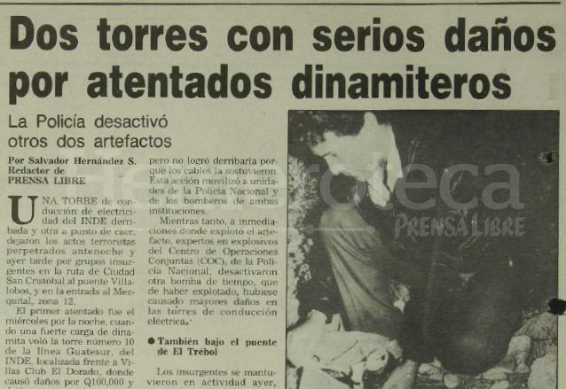 Nota de Prensa Libre del 20 de diciembre de 1991 ampliando la información sobre los ataques dinamiteros de la guerrilla. (Foto: Hemeroteca PL)