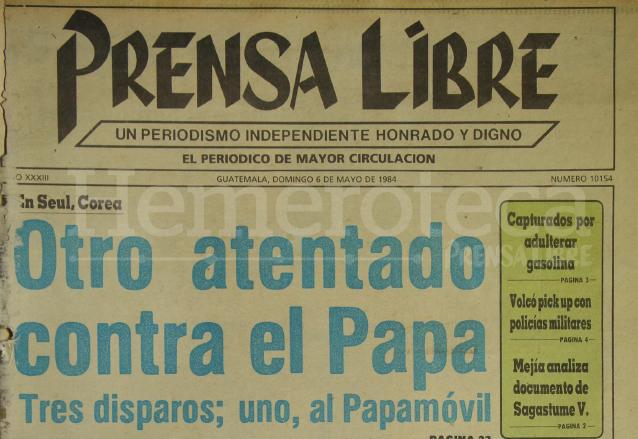Titular de Prensa Libre del 6 de mayo de 1984. (Foto: Hemeroteca PL)
