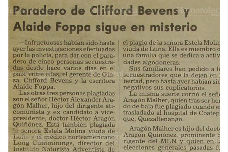 Autoridades investigan el paradero del empresario de GINSA Clifford Bevens y la escritora  Alaíde Foppa, secuestrados por hombres armados. (Foto: Hemeroteca PL)