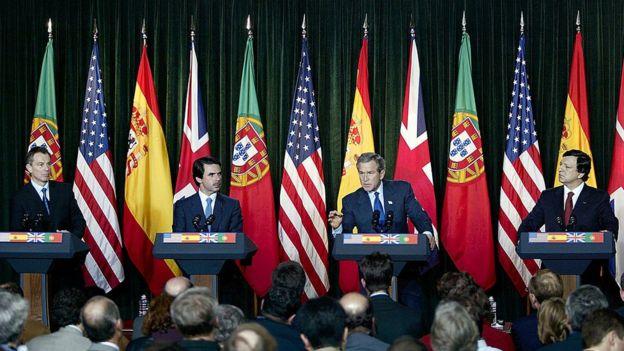 Los líderes Estados Unidos, Reino Unido, Portugal y España se reunieron en las islas de las Azores para discutir la situación en Irak. GETTY IMAGES