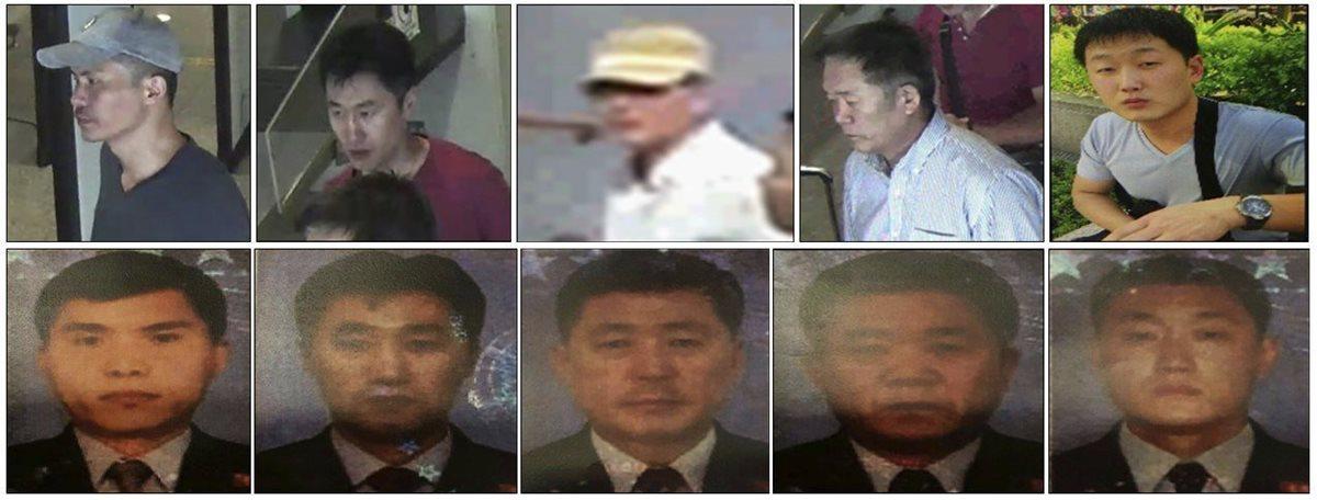 Combo fotográfico facilitado por la Policía de Malasia que muestra a cinco sospechosos buscados por las autoridades. (Foto Prensa Libre: EFE)