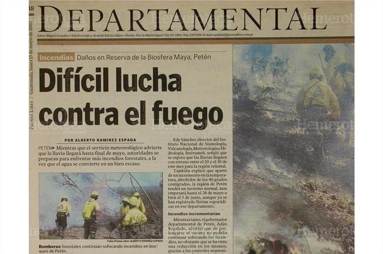 Apagafuegos han controlado varios incendios en Petén. Sin embargo, de continuar el verano se podría agravar la situación.13/5/2002. (Foto: Hemeroteca PL)