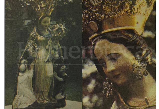 Fotos tomadas a la Virgen de La Merced tras su restauración en 1987. (Foto: Hemeroteca PL)