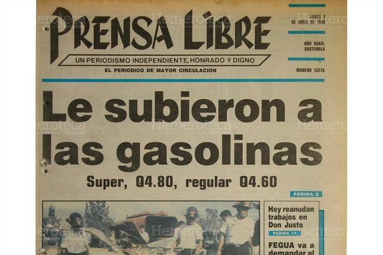 Portada del 9 de abril de 1990, con titular sobre incremento de precios a combustibles. (Foto: Hemeroteca PL)