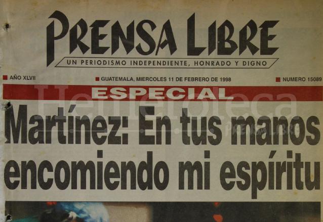 Titular de la edición especial de Prensa Libre del 11 de febrero de 1998 donde destacaba las últimas palabras del reo Manuel Martínez Coronado. (Foto: Hemeroteca PL)