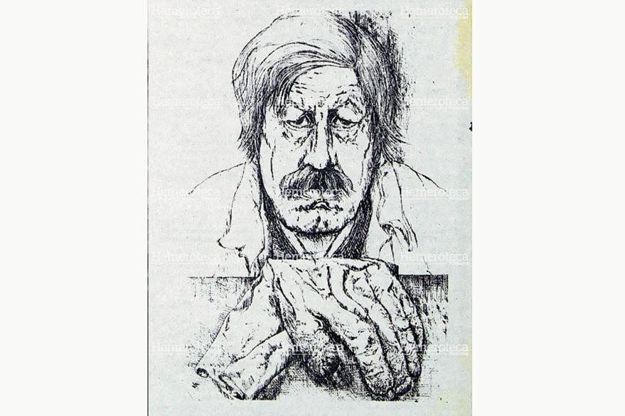 Autorretrato de Günter Grass en aguafuerte. Foto: Hemeroteca PL
