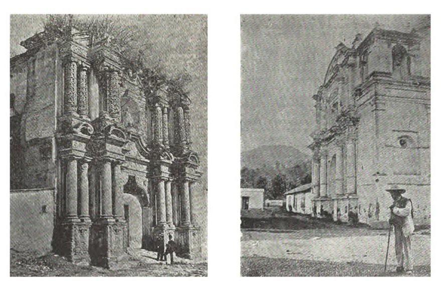 Los templos de Nuestra Señora del Carmen (izquierda) y San Sebastián. El primero muestra menos daños en su fachada, en comparación con su aspecto actual. (Foto: La República).