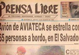 La portada del 10/8/1995 de Prensa Libre dio a conocer sobre el accidente aéreo en Chinchontepec, El Salvador. (Foto: Hemeroteca PL)