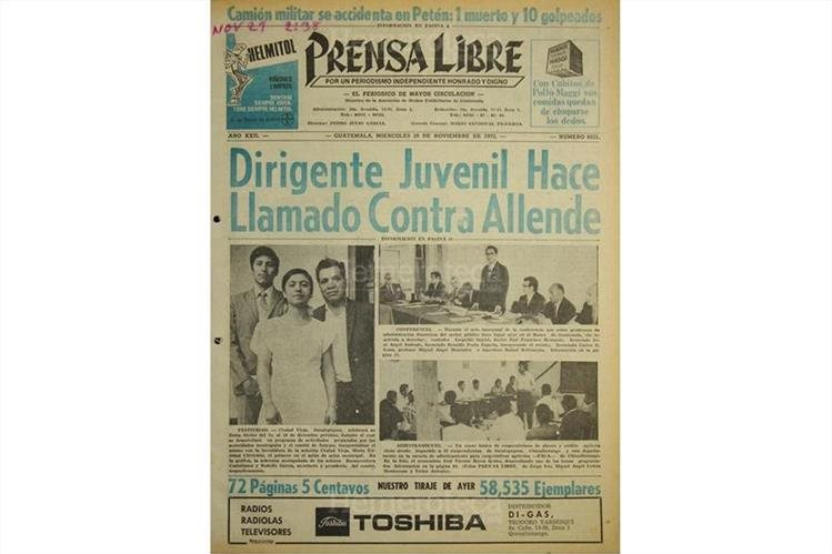 Portada de Prensa Libre del 29/11/1972. (Foto: Hemeroteca PL)