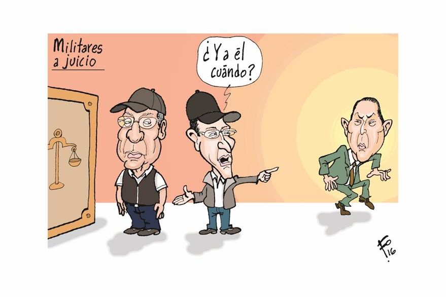 Benedicto Lucas, Byron Barrientos y Mauricio López Bonilla, en caricatura de Fo de junio de 2016. (Foto: Hemeroteca PL)