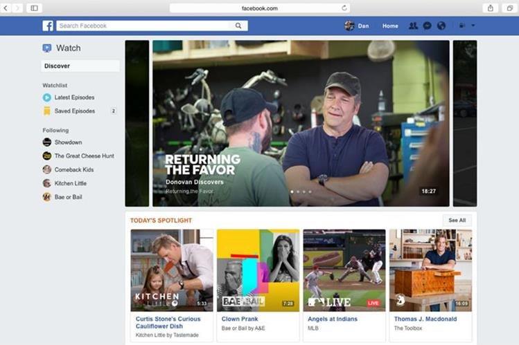 """""""Facebook Watch"""" lucha por convertirse en la plataforma de video de la red social más activa. (Foto Prensa Libre: Facebook)"""