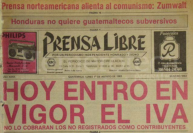 Titular del 1 de agosto de 1983 informando sobre la entrada en vigencia del IVA. (Foto: Hemeroteca PL)