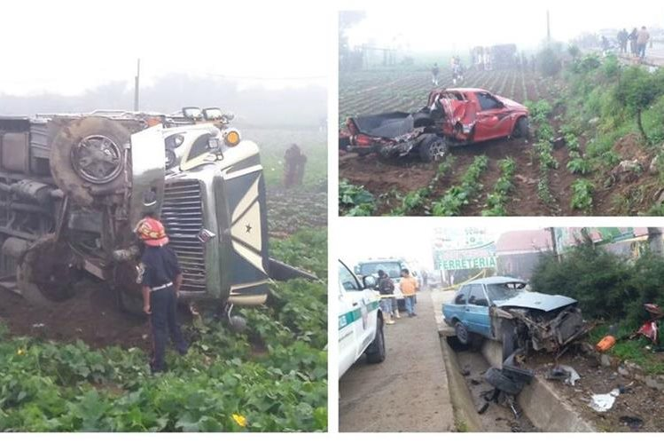 Vehículos involucrados en accidente en ruta Interamericana. (Foto Prensa Libre: Víctor Chamalé)