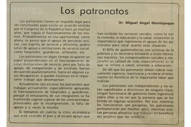 Columna del médico Montepeque sobre papel de los patronatos. (Foto: Hemeroteca PL)