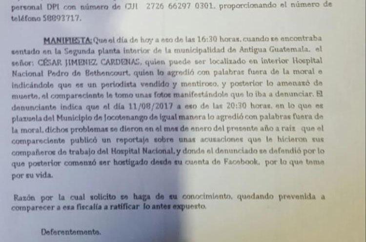 Julio Sicán, corresponsal de Prensa Libre en Sacatepéquez, denunció las amenazas de muerte en su contra. (Foto Prensa Libre:)