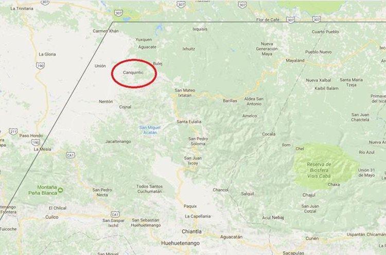 El círculo rojo muestra el área donde se registra enfrentamiento por conflicto de tierras, en Nentón, Huehuetenango. (Foto Prensa Libre: Google Maps)