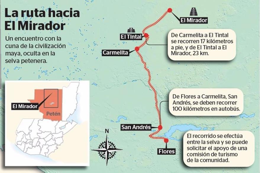 Detalles de cómo llegar a El Mirador, en San Andrés, Petén. (Infografía Prensa Libre: Esteban Arreola)