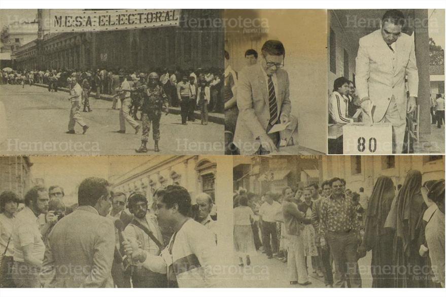 07/03/1982 Varios aspectos de las votaciones del 07/03/1982, Alejandro Maldonado y Romeo Lucas depositan su voto. (Foto: Hemeroteca PL)