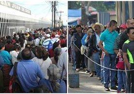 Largas filas de personas en busca de atención médica en los hospitales Roosevelt y San Juan de Dios. (Foto Prensa Libre: Érick Ávila)