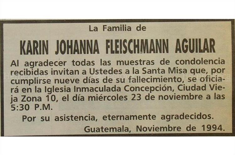 Esquela donde se invitaba a una misa por el sensible fallecimiento de Karin Fleischman. 22/11/1994. (Foto: Hemeroteca PL)