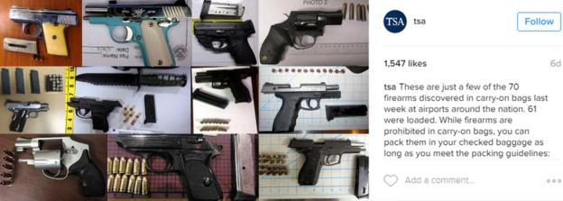 La TSA suele compartir en su cuenta de Instagram las pistolas y otras armas que confisca a pasajeros que tratan de embarcan en distintos vuelos. (INSTAGRAM/TSA)