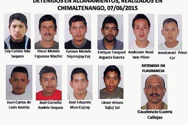 Siete de los 11 capturados el domingo último en varios allanamientos en Chimaltenango presentaron su primera declaración en el Juzgado de Primera Instancia local. (Foto Prensa Libre: PNC)