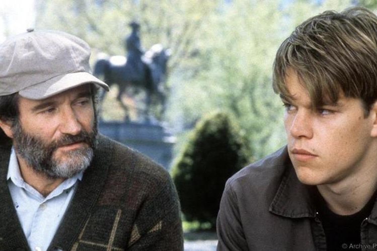 Robin Williams y Matt Damon en Good Will Hunting.