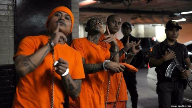 Más de 400 miembros de la pandilla Barrio 18 han sido detenidos. (Foto Prensa Libre: AFP/Johan Ordoñez)