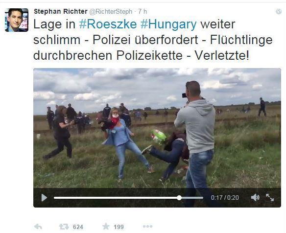 <em>La grabación capta el momento justo en el que la periodista pone zancadilla a un inmigrante que llevaba a su hijo en brazos. (Foto: captura de Twitter de @RichterSteph).</em>