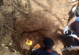 Lugar donde ocurrió el hallazgo de los restos humanos en Barillas, Huehuetenango. (Foto Prensa Libre: PNC).
